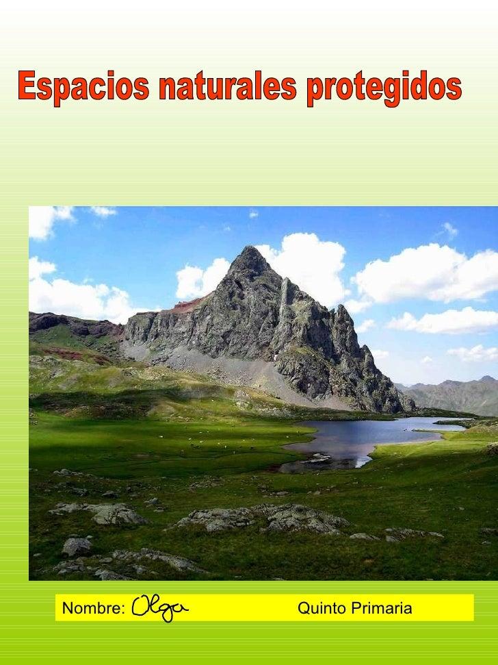 Espacios naturales protegidos Nombre:  Quinto Primaria