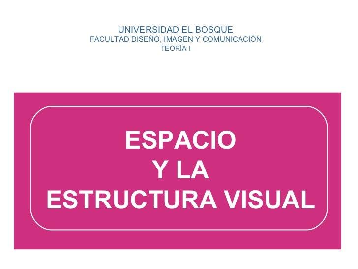 UNIVERSIDAD EL BOSQUE FACULTAD DISEÑO, IMAGEN Y COMUNICACIÓN TEORÍA I ESPACIO Y LA ESTRUCTURA VISUAL
