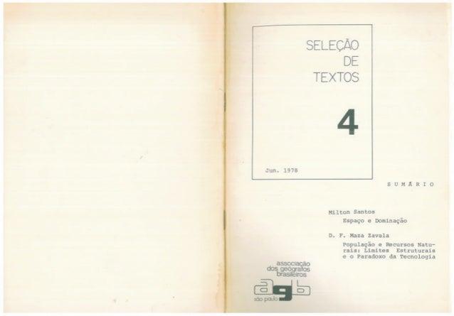 Espaço e Dominação Milton Santos 1978