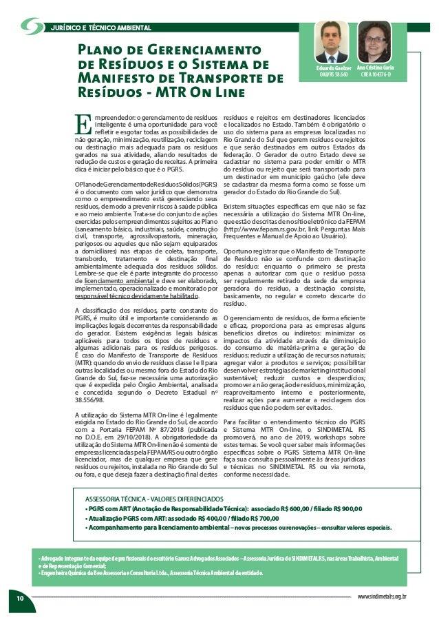 Plano de Gerenciamento de Resíduos e o Sistema de Manifesto de Transporte de Resíduos - MTR On Line E mpreendedor: o geren...
