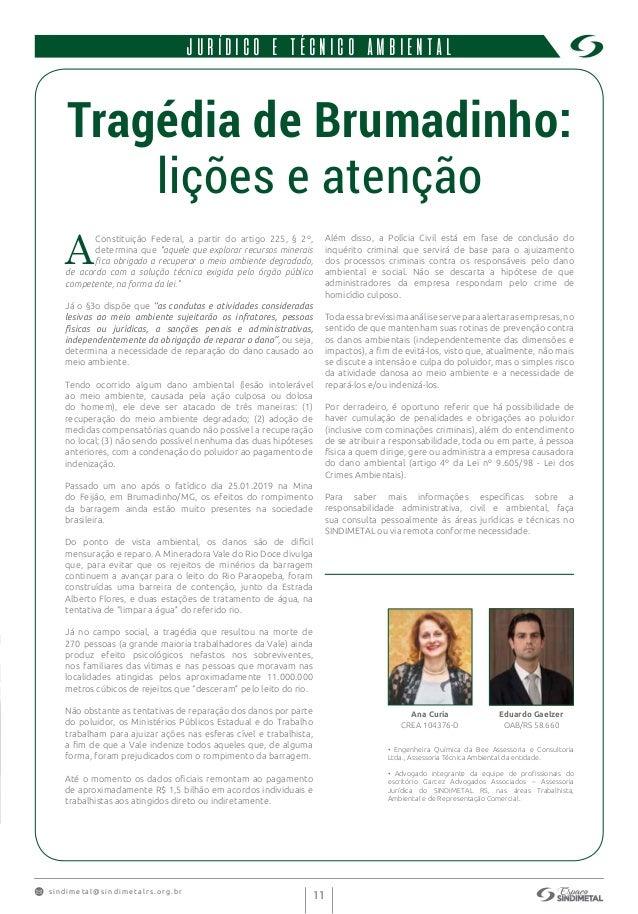 s indimet a l@sindimetalrs.org.br 11 JURÍDICO E TÉCNICO AMBIENTAL Tragédia de Brumadinho: lições e atenção A Constituição ...