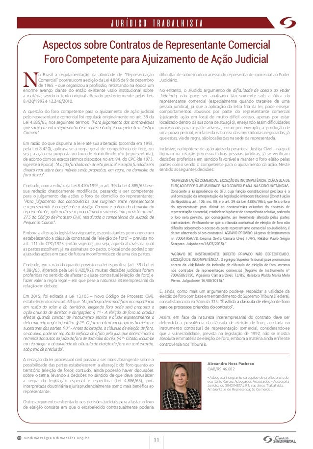 s indimet a l@sindimetalrs.org.br 11 jurídico trabalhista Aspectos sobre Contratos de Representante Comercial Foro Compete...