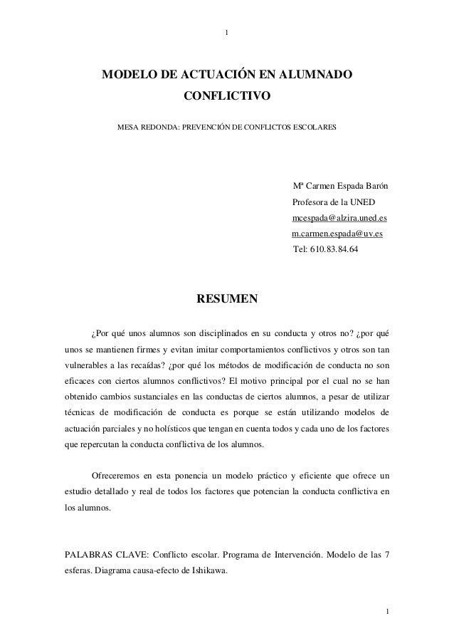 1          MODELO DE ACTUACIÓN EN ALUMNADO                                CONFLICTIVO               MESA REDONDA: PREVENCI...