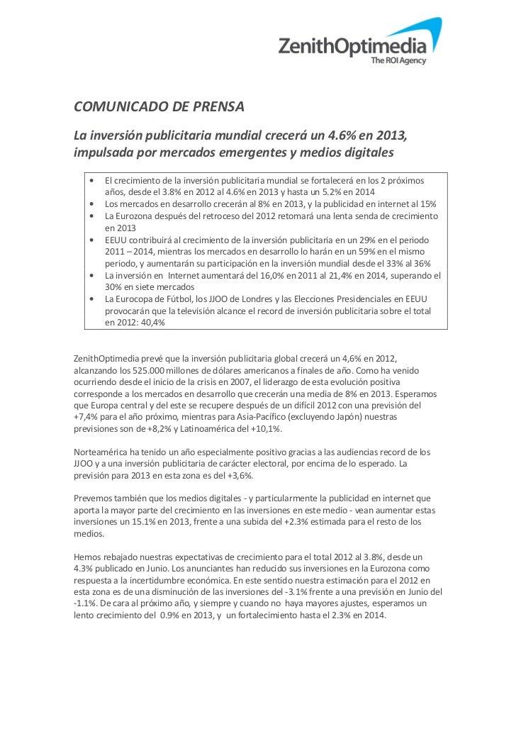 COMUNICADO DE PRENSALa inversión publicitaria mundial crecerá un 4.6% en 2013,impulsada por mercados emergentes y medios d...
