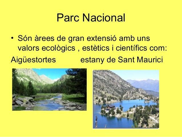 Parc Nacional• Són àrees de gran extensió amb uns  valors ecològics , estètics i científics com:Aigüestortes        estany...