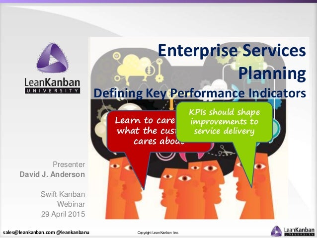 sales@leankanban.com @leankanbanu Copyright Lean Kanban Inc. Learn to care about what the customer cares about KPIs should...