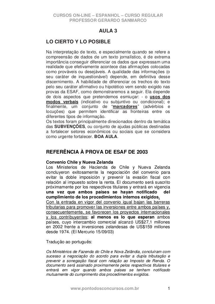 CURSOS ON-LINE – ESPANHOL – CURSO REGULAR        PROFESSOR GERARDO SANMARCO                            AULA 3LO CIERTO Y L...