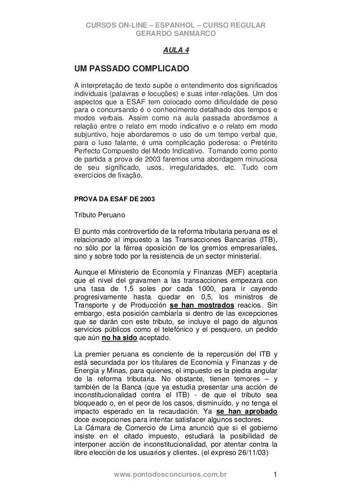 CURSOS ON-LINE – ESPANHOL – CURSO REGULAR              GERARDO SANMARCO                            AULA 4UM PASSADO COMPLI...