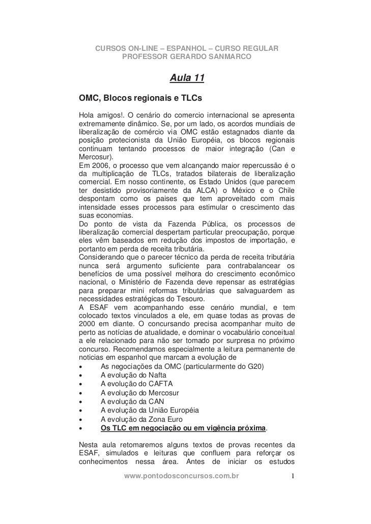 CURSOS ON-LINE – ESPANHOL – CURSO REGULAR          PROFESSOR GERARDO SANMARCO                            Aula 11OMC, Bloco...