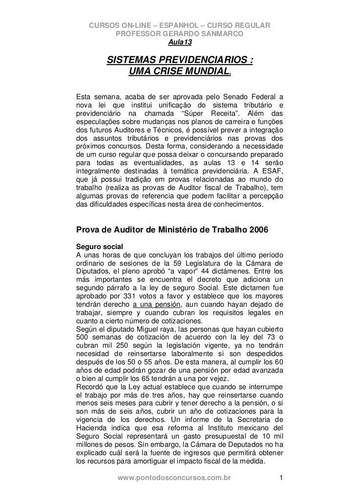 CURSOS ON-LINE – ESPANHOL – CURSO REGULAR        PROFESSOR GERARDO SANMARCO                      Aula13         SISTEMAS P...