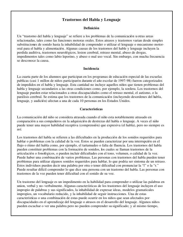 """Trastornos del Habla y Lenguaje                                              DefiniciónUn """"trastorno del habla y lenguaje""""..."""