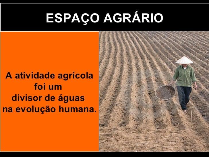 ESPAÇO AGRÁRIO A atividade agrícola foi um  divisor de águas  na evolução humana.