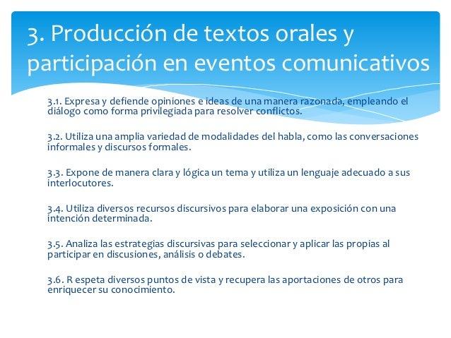 3. Producción de textos orales yparticipación en eventos comunicativos 3.1. Expresa y defiende opiniones e ideas de una ma...