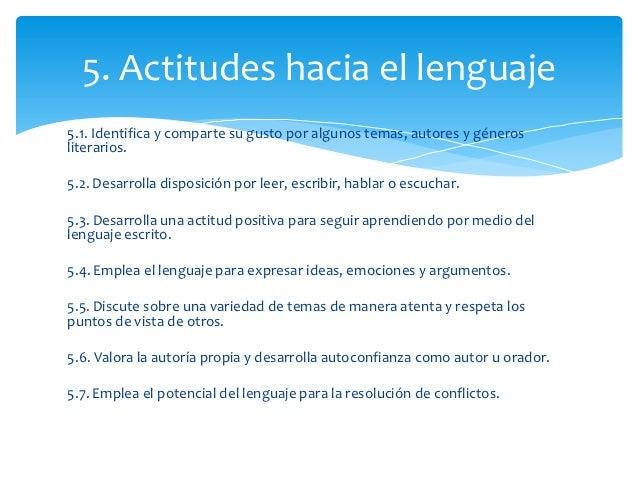 5. Actitudes hacia el lenguaje5.1. Identifica y comparte su gusto por algunos temas, autores y génerosliterarios.5.2. Desa...