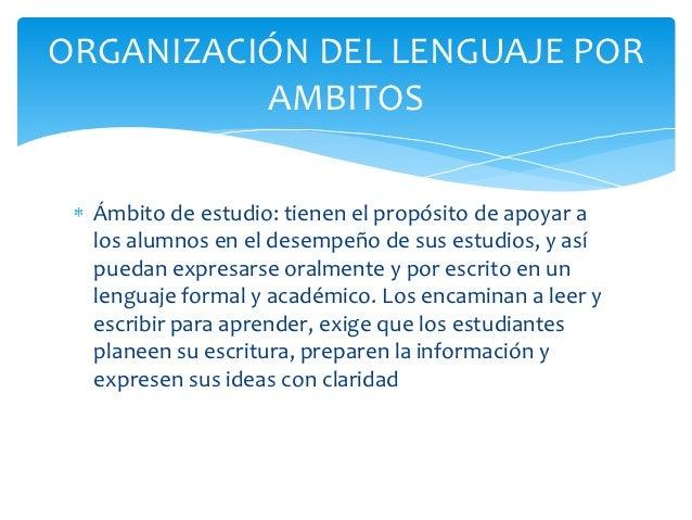 ORGANIZACIÓN DEL LENGUAJE POR          AMBITOS  Ámbito de estudio: tienen el propósito de apoyar a  los alumnos en el dese...
