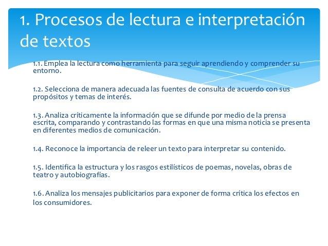 1. Procesos de lectura e interpretaciónde textos 1.1. Emplea la lectura como herramienta para seguir aprendiendo y compren...