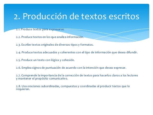 2. Producción de textos escritos2.1. Produce textos para expresarse.2.2. Produce textos en los que analiza información.2.3...
