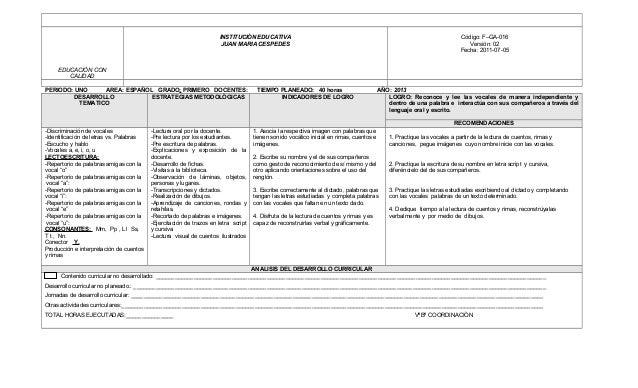 INSTITUCIÒN EDUCATIVA                                                                               Código: F–GA-016      ...