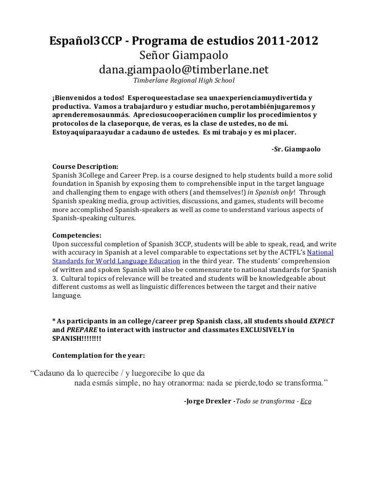 Español3CCP - Programa de estudios 2011-2012                     Señor Giampaolo             dana.giampaolo@timberlane.net...
