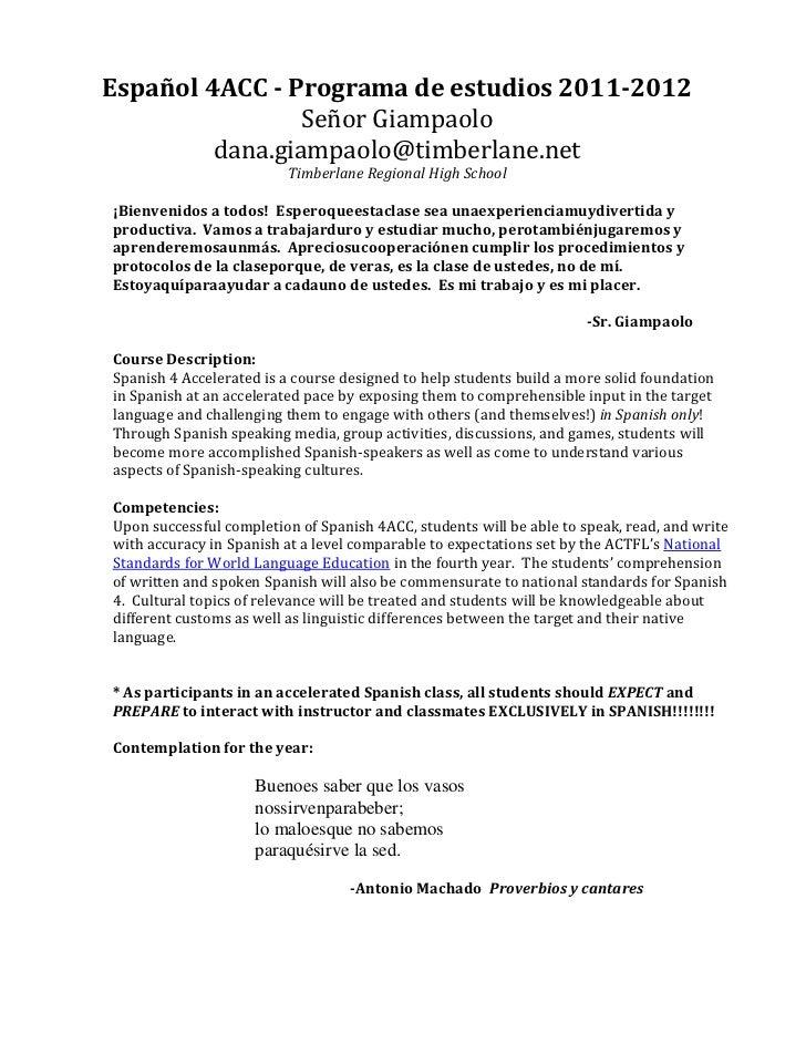 Español 4ACC - Programa de estudios 2011-2012                 Señor Giampaolo         dana.giampaolo@timberlane.net       ...