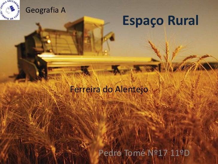 Geografia A                           Espaço Rural              Ferreira do Alentejo                     Pedro Tomé Nº17 1...