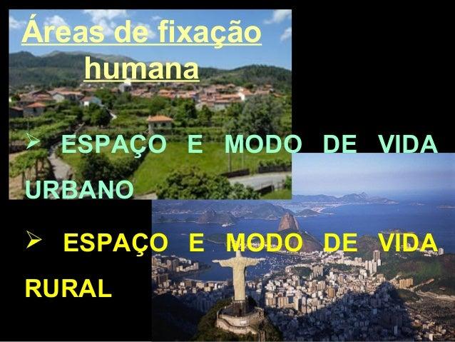 Áreas de fixação humana  ESPAÇO E MODO DE VIDA URBANO  ESPAÇO E MODO DE VIDA RURAL