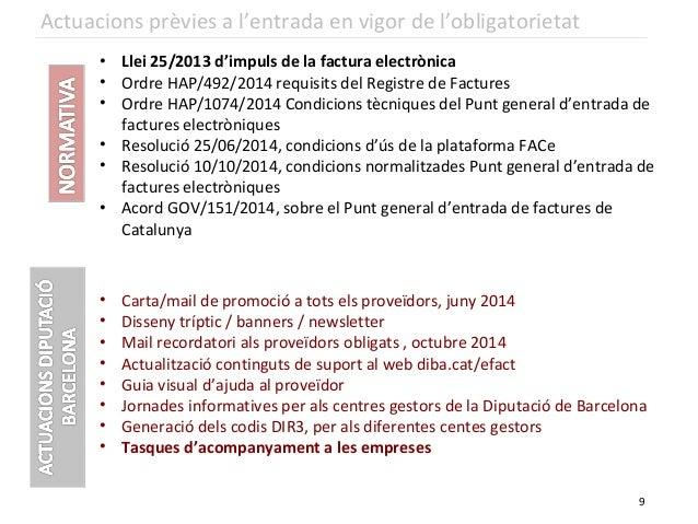 • Llei 25/2013 d'impuls de la factura electrònica • Ordre HAP/492/2014 requisits del Registre de Factures • Ordre HAP/1074...