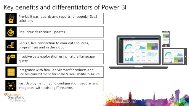 Key benefits and differentiators of Power BI Pre-built dashboards and reports for popular SaaS solutions Integrated with f...