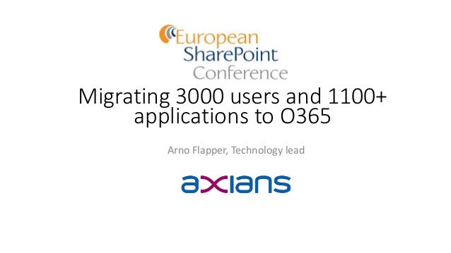 Migrating 3000 users and 1100+ applications to O365 Arno Flapper, Technology lead