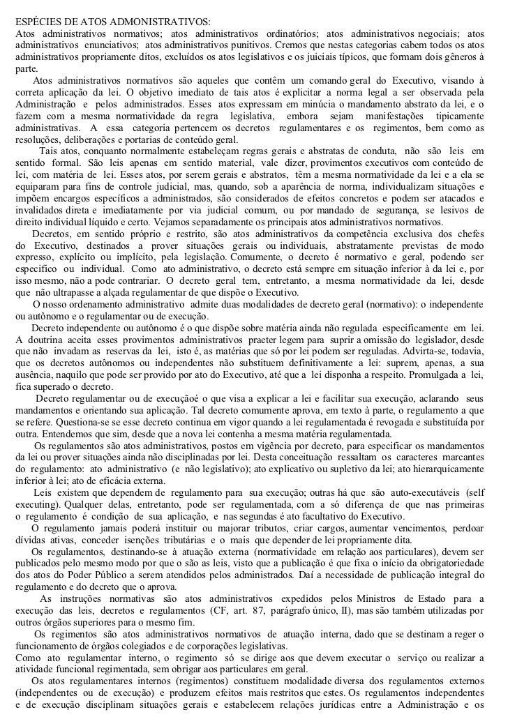 ESPÉCIES DE ATOS ADMONISTRATIVOS:Atos administrativos normativos; atos administrativos ordinatórios; atos administrativos ...