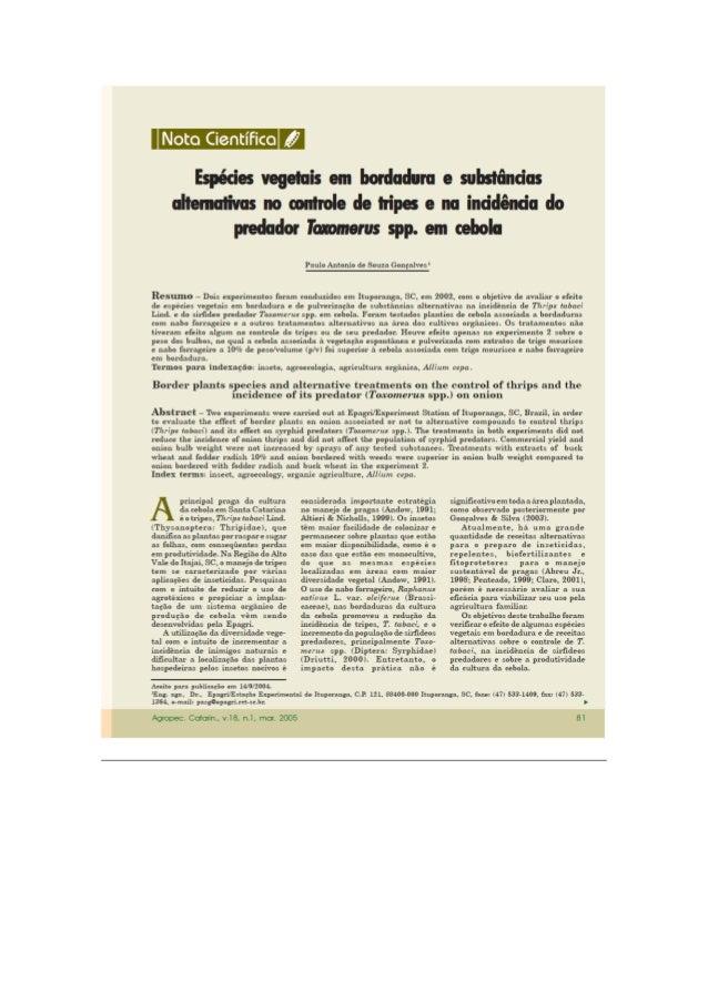 Espécies vegetais em bordadura e substâncias alternativas no controle de tripes e na incidência do predador Toxomerus spp....