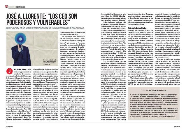 """16 FORBES FORBES 17 CORE BUSINESS DESAFÍOS DEL CEO J JOSÉ A. LLORENTE: """"LOS CEO SON PODEROSOS Y VULNERABLES"""" DE PRIMERA MA..."""