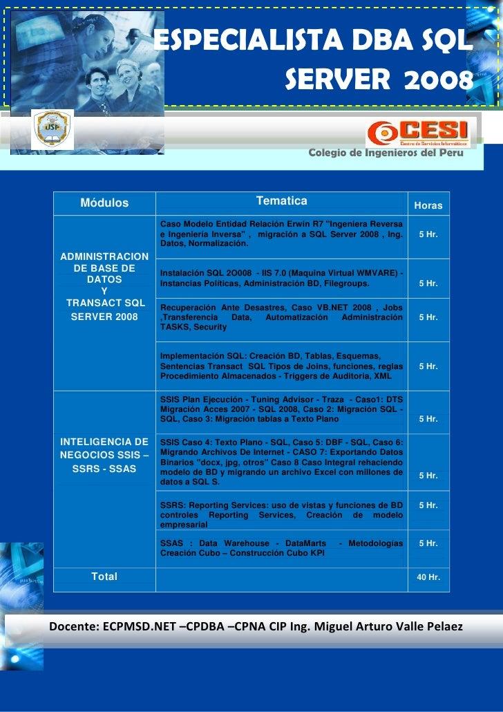 ESPECIALISTA DBA SQL                            SERVER 2008                                                        Colegio...