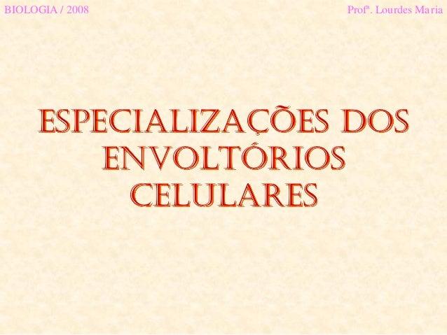 Especializações dOSENVOLTÓRIOSCELULARESBIOLOGIA / 2008 Profª. Lourdes Maria