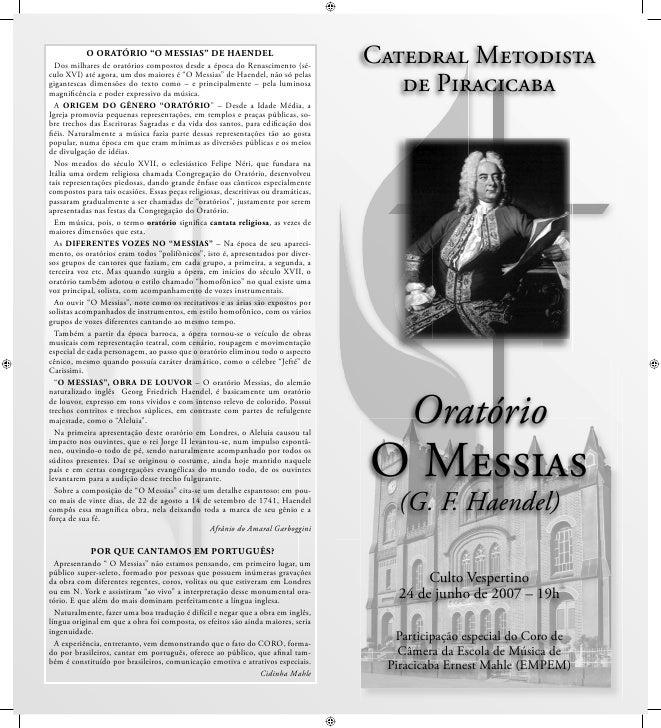 """O ORATÓRIO """"O MESSIAS"""" DE HAENDEL   Dos milhares de oratórios compostos desde a época do Renascimento (sé-                ..."""