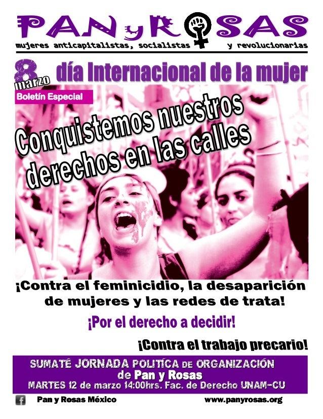 Boletín Especial   SUMATÉ JORNADA POLITÍCA DE ORGANIZACIÓN                         de Pan y Rosas  MARTES 12 de marzo 14:0...