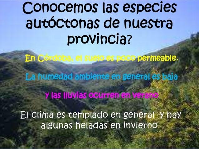 Conocemos las especies  autóctonas de nuestra  provincia?  En Córdoba, el suelo es poco permeable.  La humedad ambiente en...