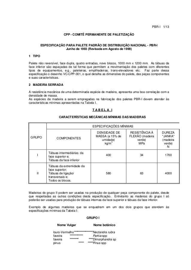 PBR-I 1/1 CPP - COMITÊ PERMANENTE DE PALETIZAÇÃO ESPECIFICAÇÃO PARA PALETE PADRÃO DE DISTRIBUIÇÃO NACIONAL - PBR-I Junho d...