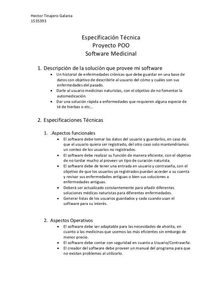 Hector Tinajero Galarza1535393                            Especificación Técnica                               Proyecto PO...