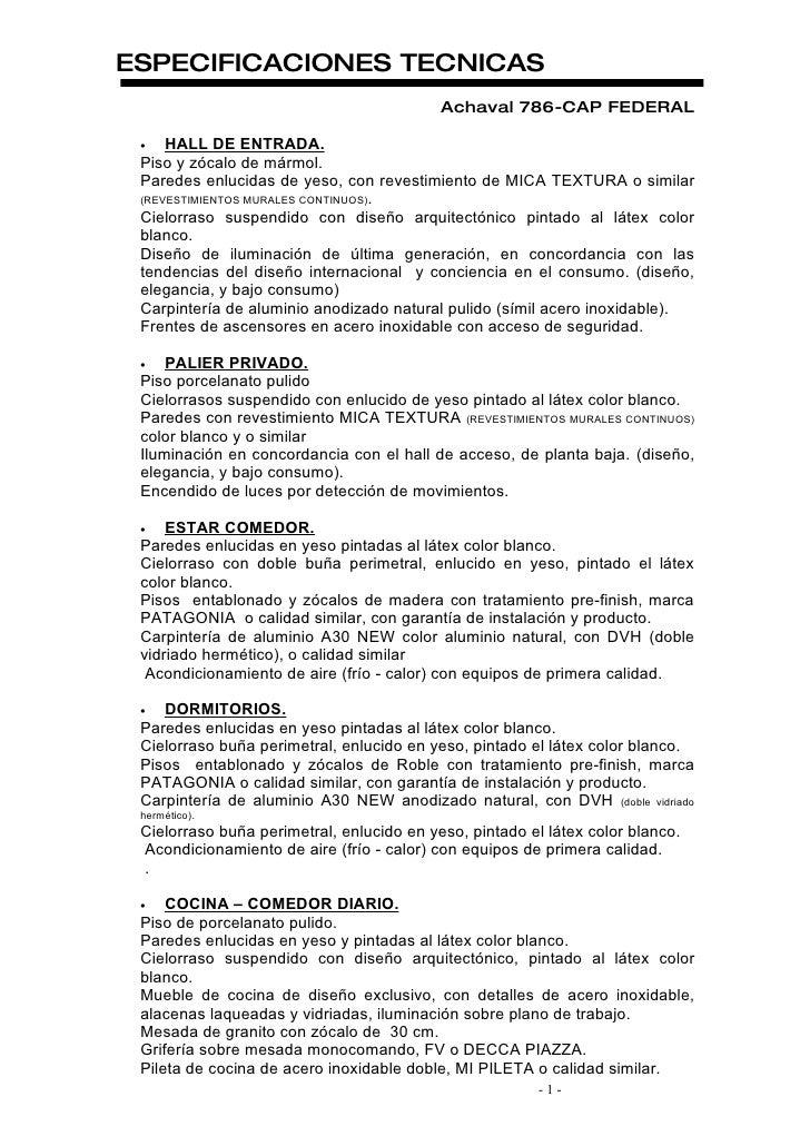 ESPECIFICACIONES TECNICAS                                            Achaval 786-CAP FEDERAL   •   HALL DE ENTRADA.  Piso ...