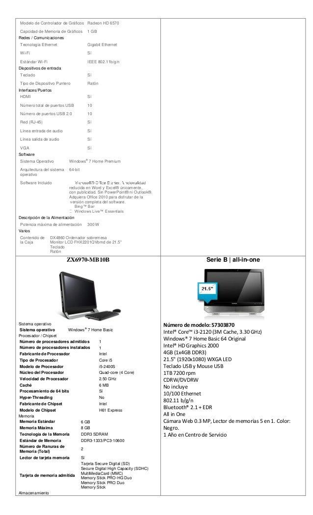 especificaciones de computadoras lenovo y gateway