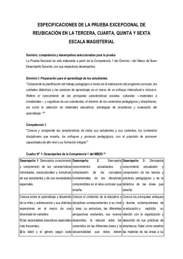 ESPECIFICACIONES DE LA PRUEBA EXCEPCIONAL DE REUBICACIÓN EN LA TERCERA, CUARTA, QUINTA Y SEXTA ESCALA MAGISTERIAL Dominio,...