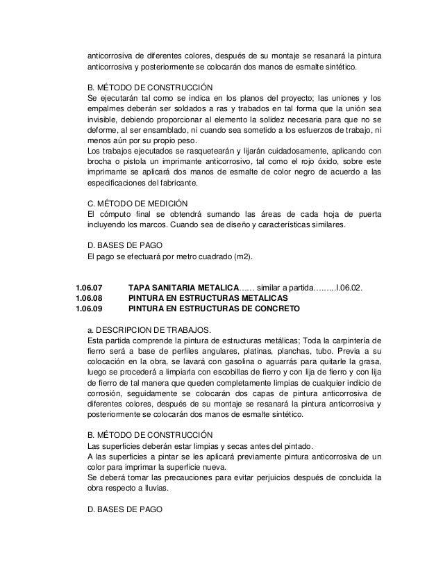 Especificaciones Tecnicas De Reservorios