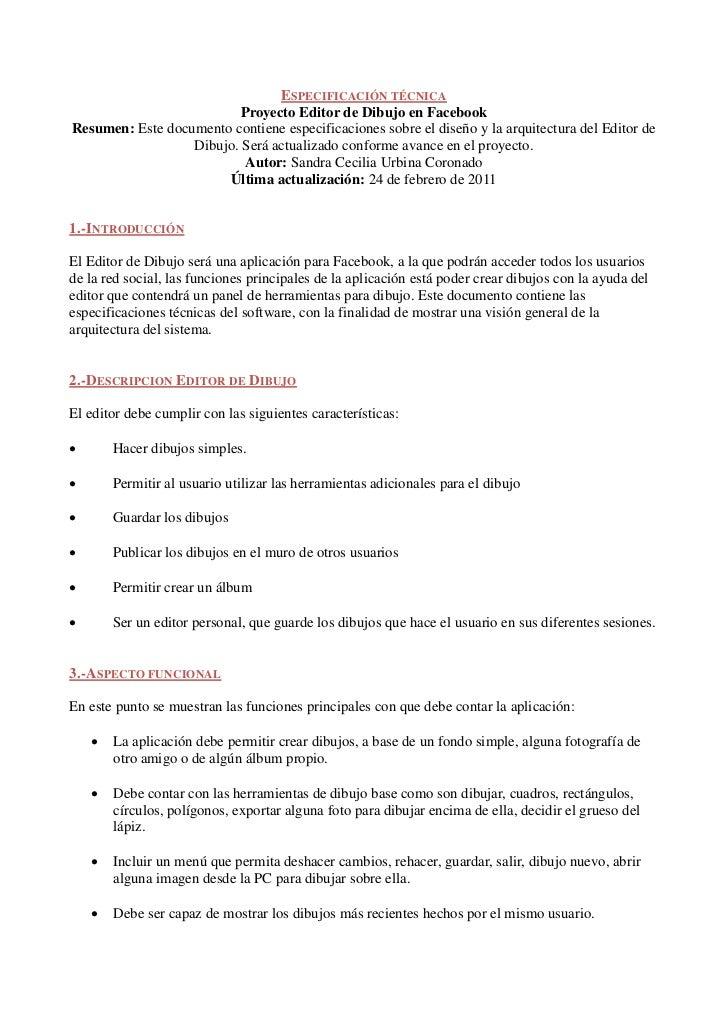 ESPECIFICACIÓN TÉCNICA                          Proyecto Editor de Dibujo en FacebookResumen: Este documento contiene espe...