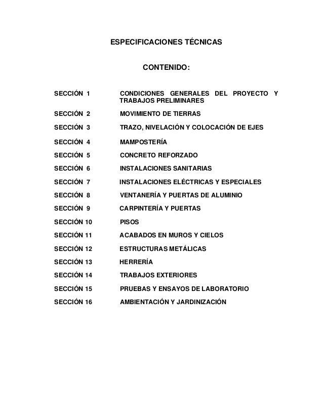 ESPECIFICACIONES TÉCNICAS                       CONTENIDO:SECCIÓN 1      CONDICIONES GENERALES DEL PROYECTO Y             ...