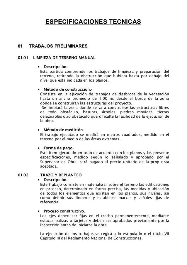 ESPECIFICACIONES TECNICAS   01 01.01  TRABAJOS PRELIMINARES LIMPIEZA DE TERRENO MANUAL •  Descripc...