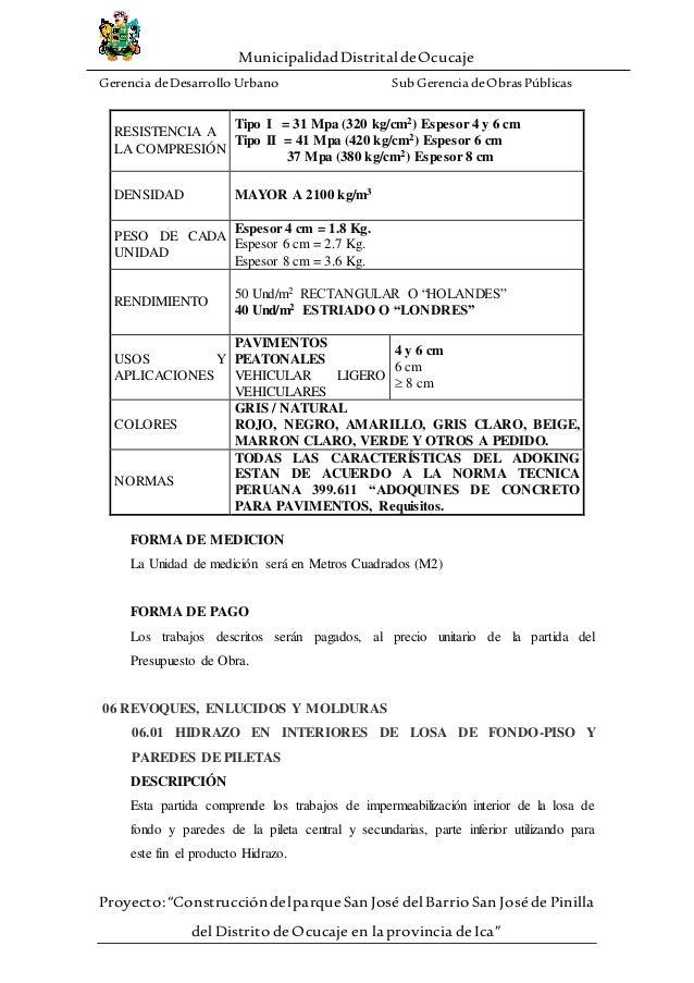 cca348e08 Especificaciones tecnicas de arquitectura del parque san jose