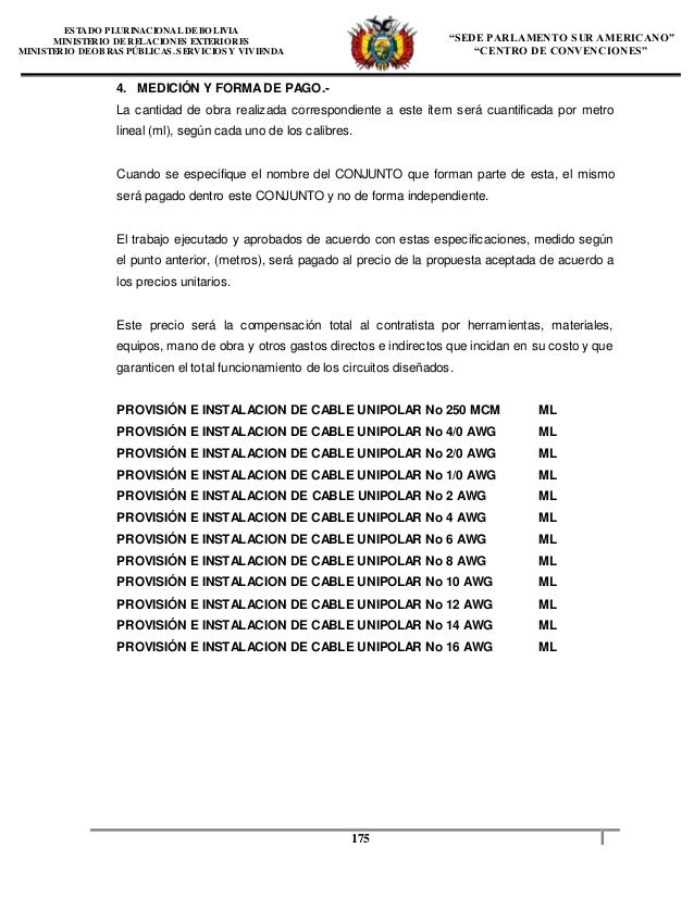 Especificaciones tecnicas instalacion electrica unasur for Precio instalacion electrica piso 90 metros