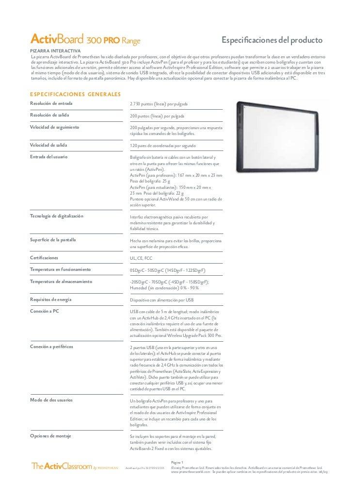 Especificaciones tecnicas serie 300 pro