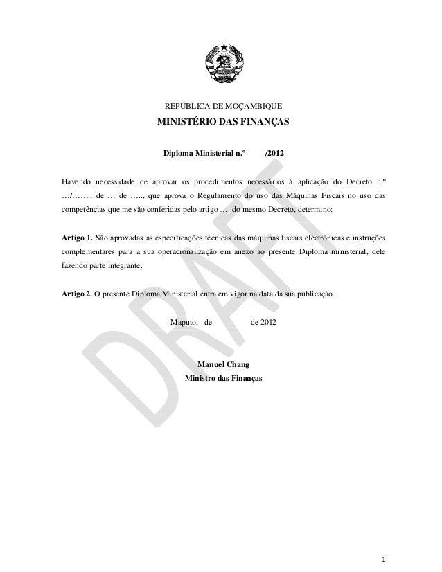 REPÚBLICA DE MOÇAMBIQUE                            MINISTÉRIO DAS FINANÇAS                ...